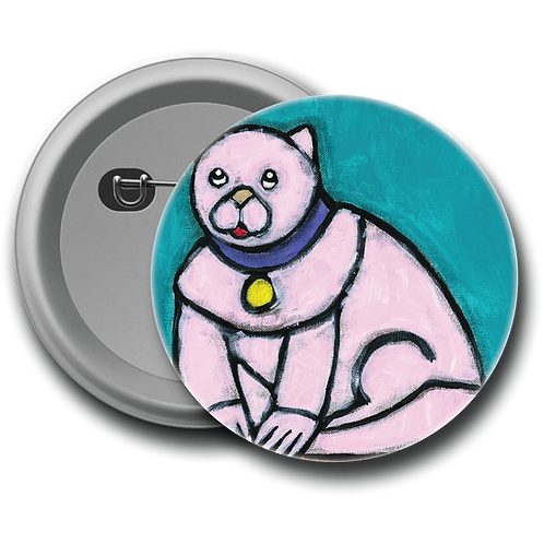 Pink Cat - Button