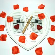 Doğum Günü Evlilik Yıl Dönümü Hediyesi Kalp Çerçeveli İkili Takvim Yaprağı