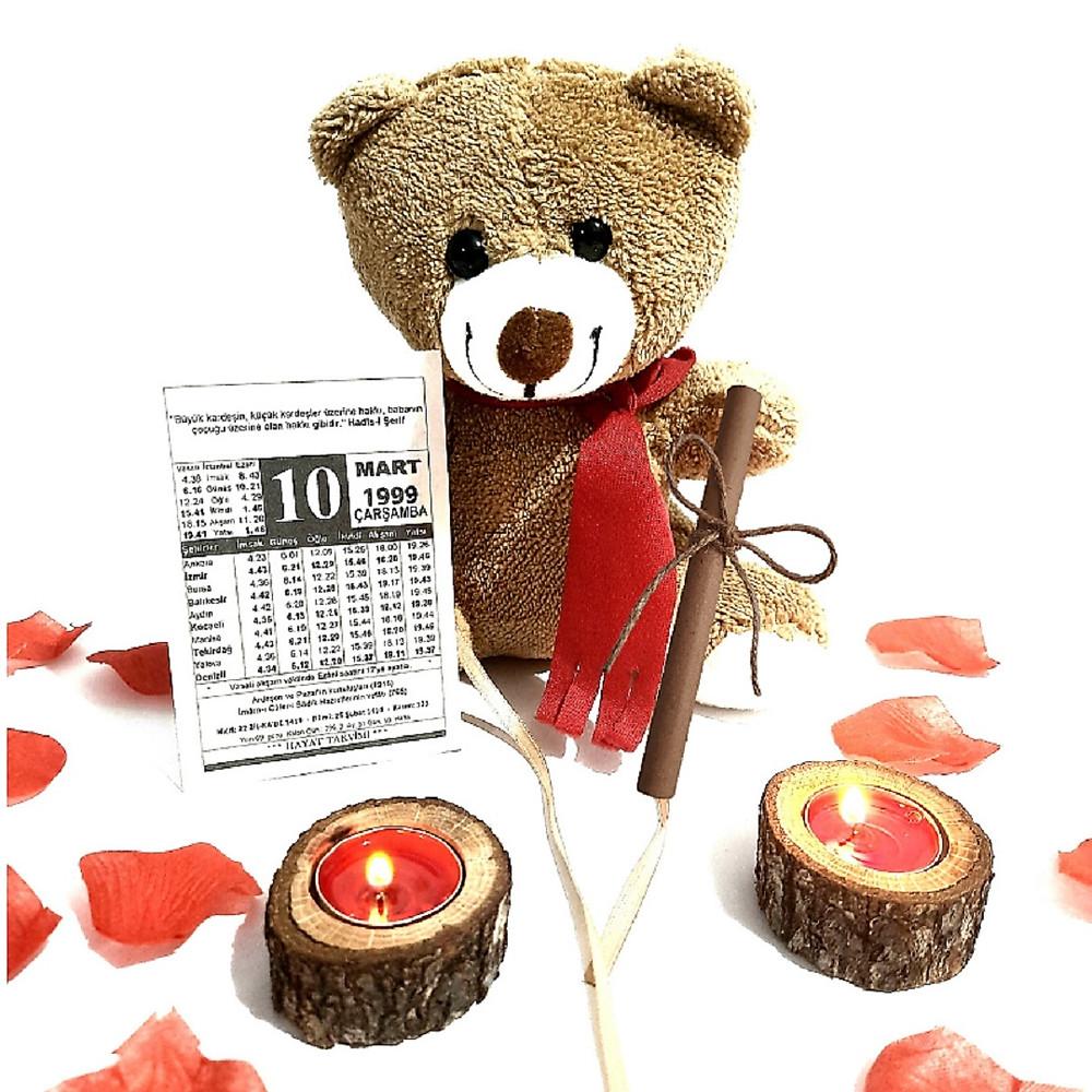 Sevgiliye Doğum Günü Hediyesi Mutlu Peluş Ayıcıklı Takvim Yaprağı