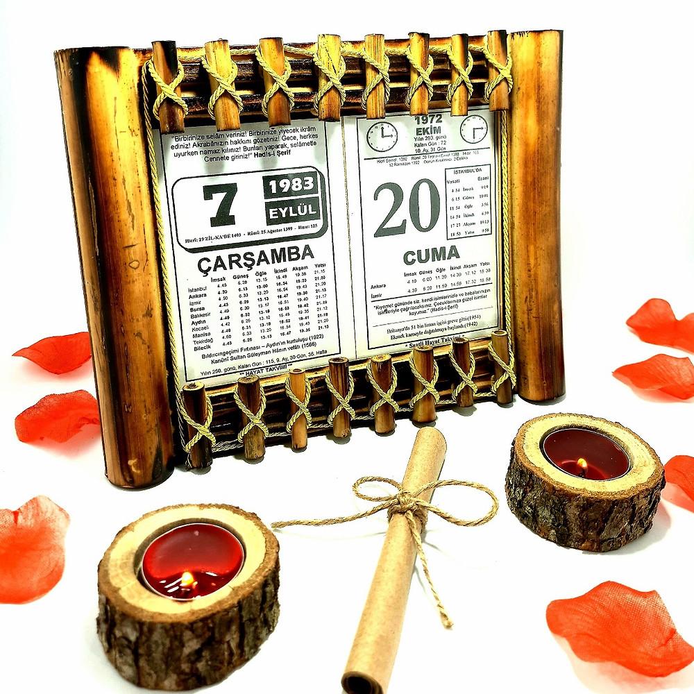 Sevgiliye Doğum Günü Hediyesi Ahşap Bambu 2'li Hasır Çerçeveli Takvim Yaprağı