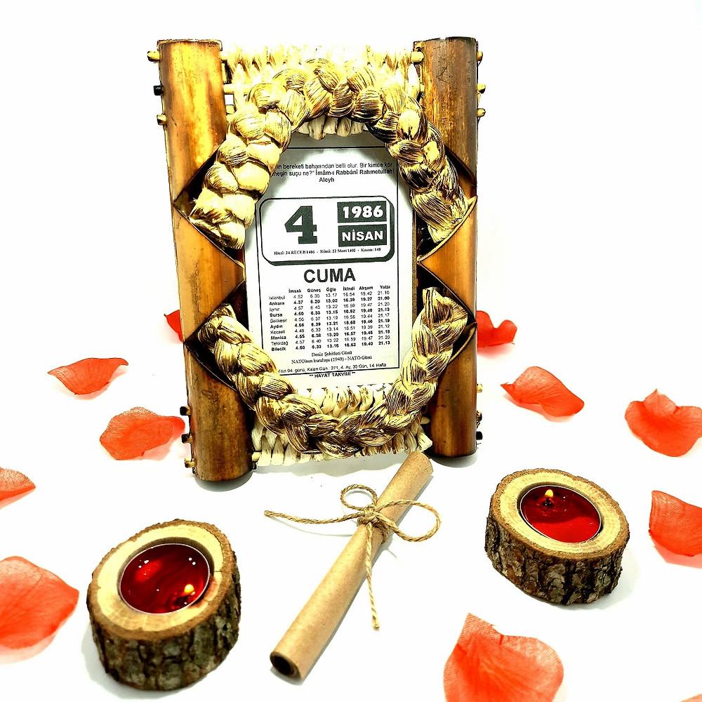 Sevgiliye Eşe Doğum Günü Yıl Dönümü Hediye Takvim Yaprağı Ahşap Bambu Çerçeveli