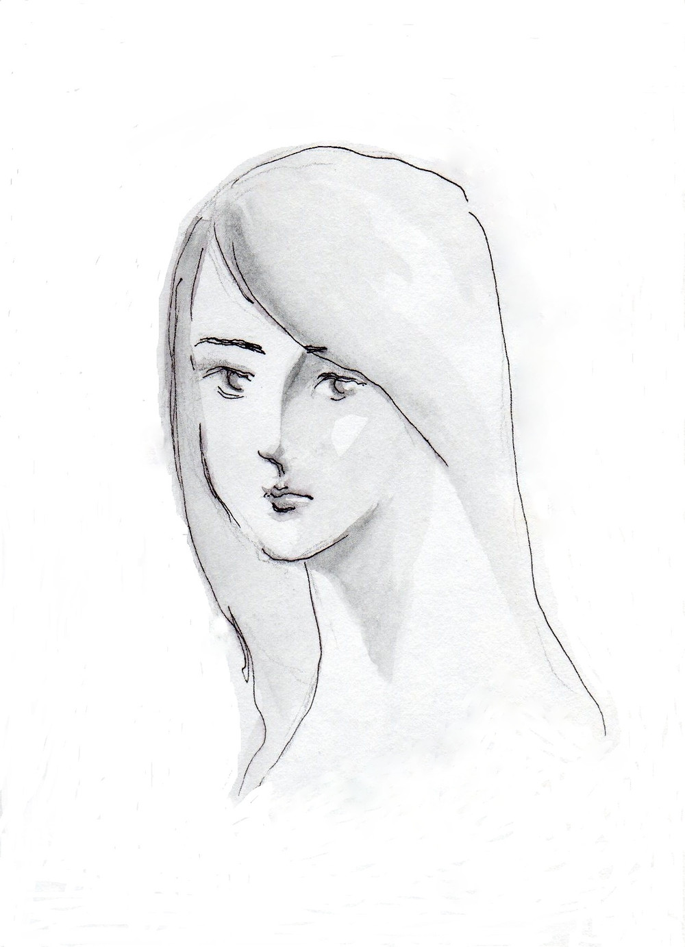 line drawing of a woman with long hair