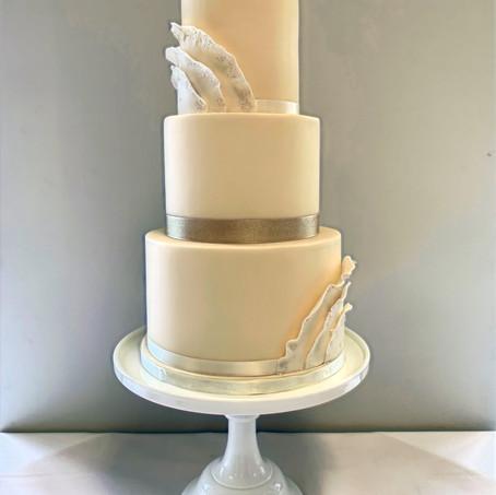3-tier ivory wedding cake