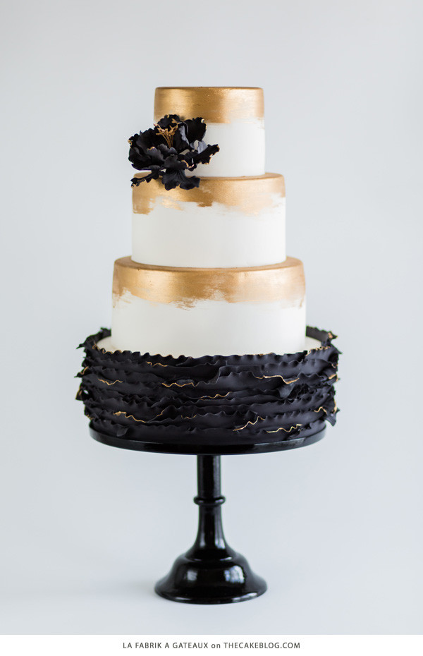 Black white and gold cake