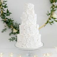 4-Tier White on White Wedding Cake