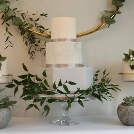 Marble Hexagon Wedding Cake