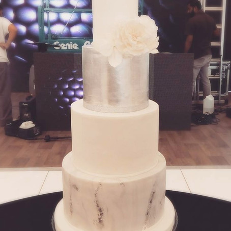 White, Silver & Marble Cake