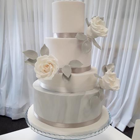 Blush Pink & Marble Wedding Cake