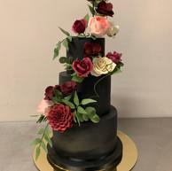 Black fondant wedding cake