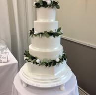 6-tier white wedding cake