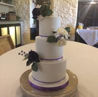 3-tier white wedding cake