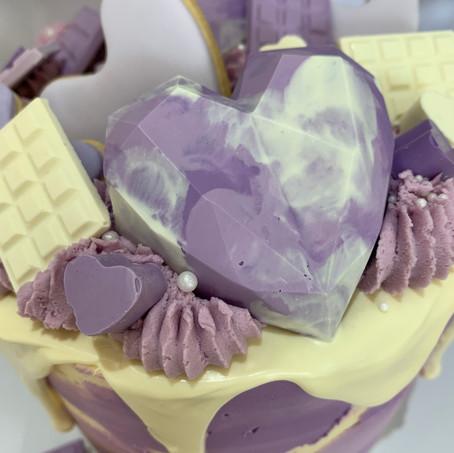 Purple Water Colour Drip Cake