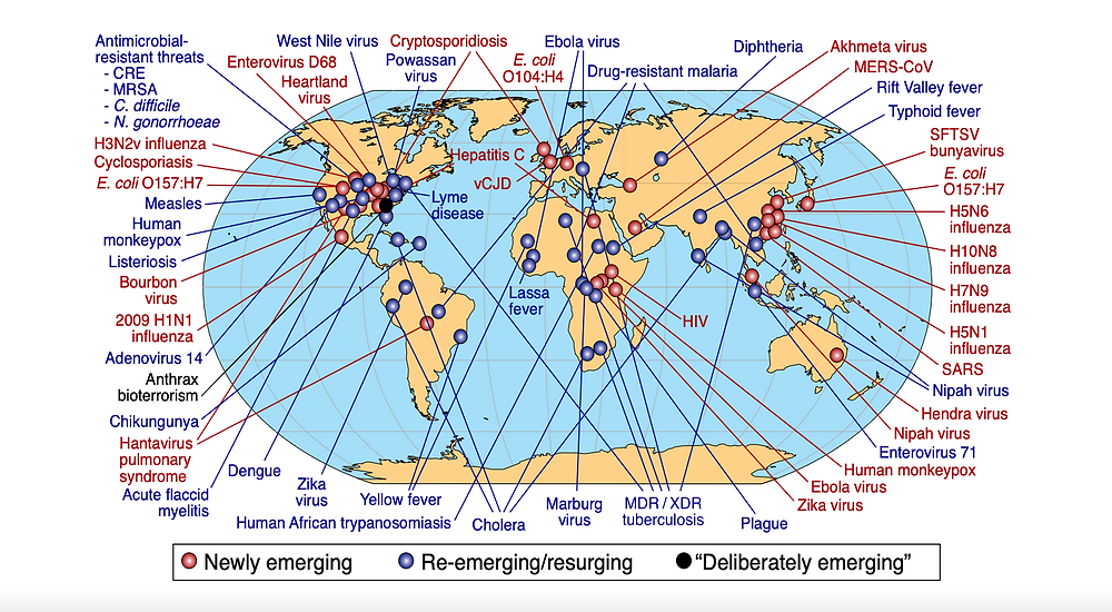 A map from the report shows global examples of emerging and reemerging diseases. Global Preparedness Monitoring Board