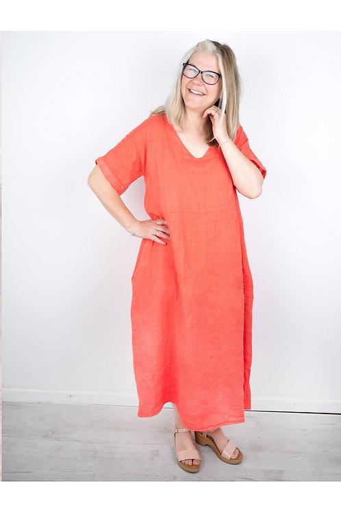 AMAZING WOMAN TESA MIDI CORAL LINEN DRESS