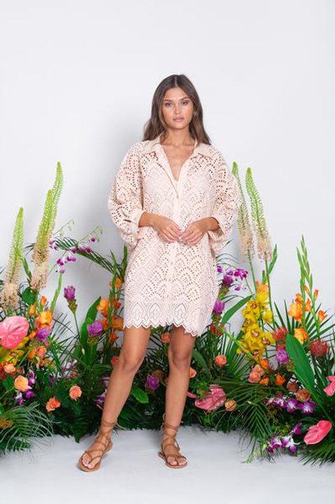 SUNDRESS EYELET BLUSH SHORT DRESS