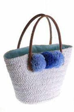 PRANELLA BLUE BOM POM BAG