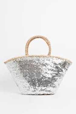 LARGE SILVER SEQUIN BAG