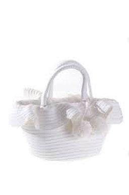 PRANELLA SMALL WHITE POMPOM BAG