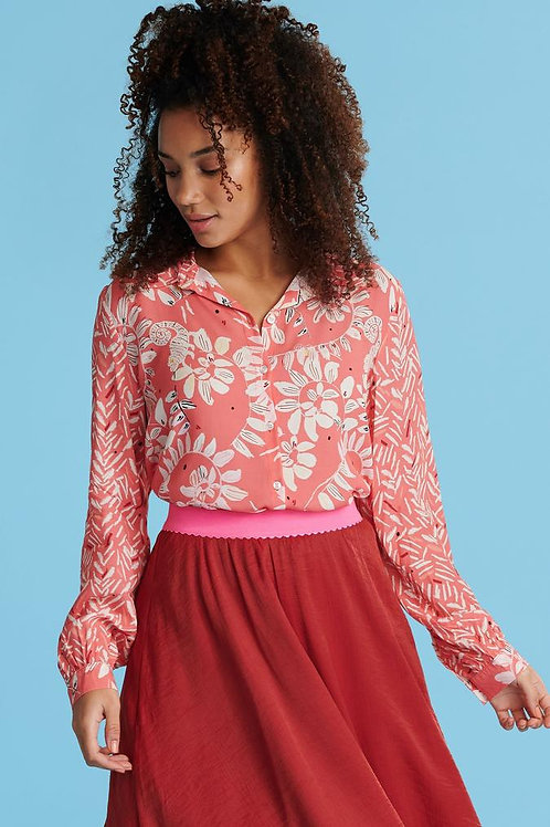 POM BOUNCING LEAVES CORAL BLOUSE
