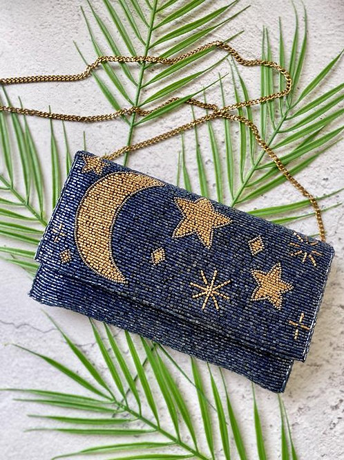 MIDNIGHT MOON AND STARS SHOULDER OR CLUTCH BAG
