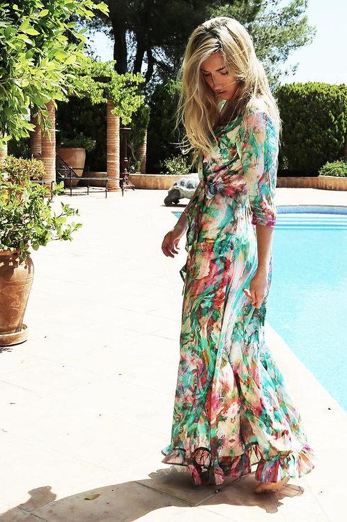 SOFIA ALEXIA LIQUID RAINBOW RUFFLE WRAP DRESS