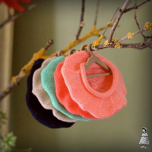 Béret Paule tricoté/ Pour poupée de 30 cm