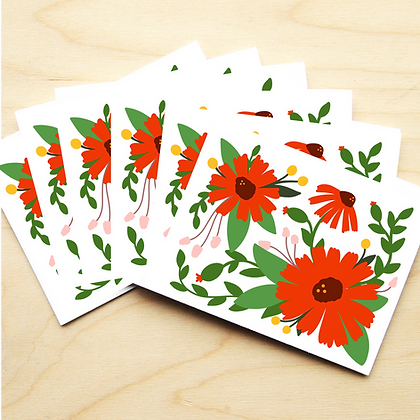Red Floral - 2 Card Sets