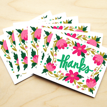 Pink Flowers Thank You - 2 Card Sets