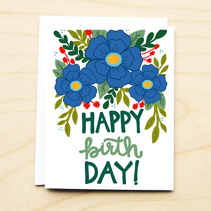 Blue Floral Birthday