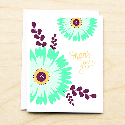 Teal Floral Thank You - 6 Cards