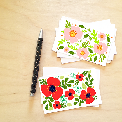 Floral Enclosure Cards - 6 Sets
