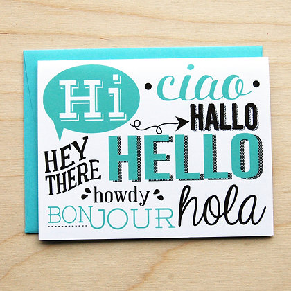Multi Lingual Hello - 6 Cards