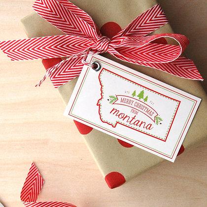 Montana Christmas Gift Tag Set