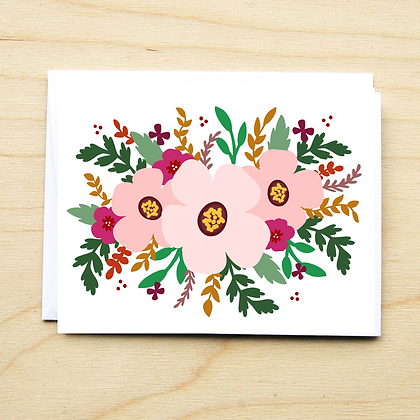 Pink Floral - 6 Cards