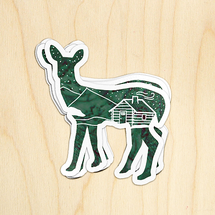 Deer Cabin Sticker