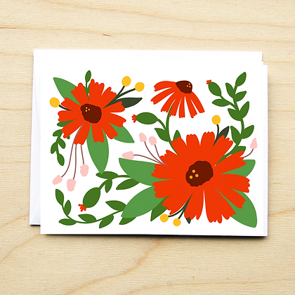 Red Floral - 6 Cards