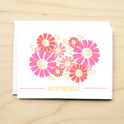 Pink Floral Birthday - 6 Cards