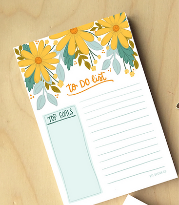 Yellow Daisy To Do Notepad