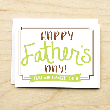 Favorite Child Father's Day - 6 Cards