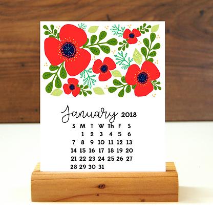 2018 Floral Desk Calendar