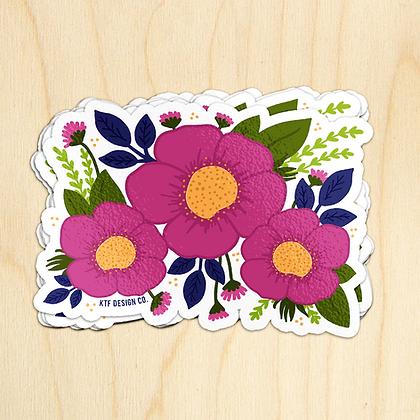 Fuchsia Flower Sticker