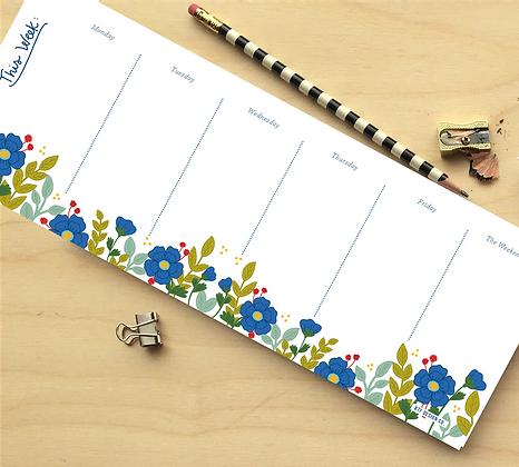 This Week Blue Floral Notepad