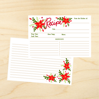 Poinsettia Recipe Cards - 4 Sets