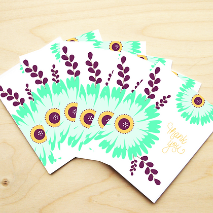 Teal Floral Thank You - 2 Card Sets