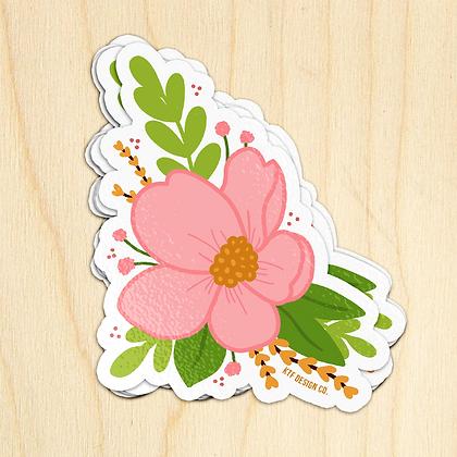 Pink Flower - 10 Stickers