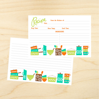 Dishes Recipe Cards - 4 Sets