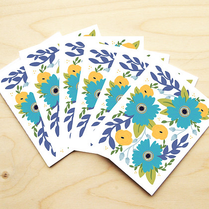 Blue Floral - 2 Card Sets