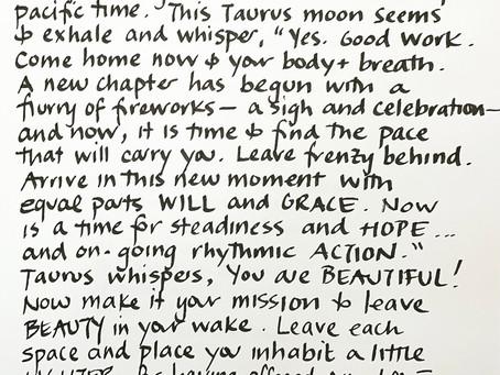 Moon Notes - January 22, Moon in Taurus