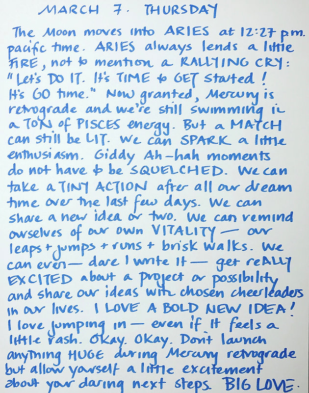 Moon Notes - March 7, Moon moves into Aries   heidi-rose-robbins