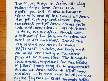 Moon Notes- November 2, Moon in Aries
